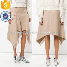 Nueva Moda Beige Asimétrico Nylon Borlas Midi Verano Falda Fabricación Al Por Mayor de Moda Ropa de Mujer (TA0026S)