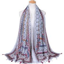 Heißer Verkauf Mode Cashew Drucken plain Voile Quaste Schal Schal