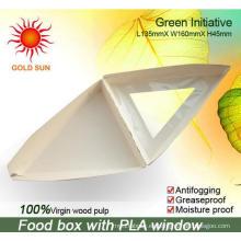 El empaquetado triangular de alimentos rápidos con la ventana antivaho