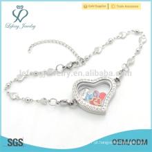 Braceletes programáveis do encanto do projeto novo design, bracelete bonito da prata do coração para mulheres