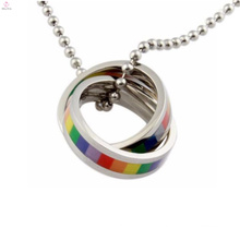 Manufacture design gay pride jewelry stainless steel double ring twisted gay necklace