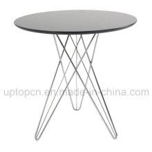 Mesa de restaurante revestida en polvo redonda con patas de acero cromado (SP-GT142)