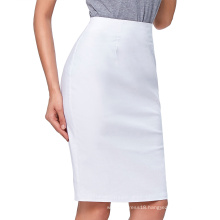 "Kate Kasin Occident Women's OL High Stretchy Hips-Wrapped Split back Short White Pencil Skirt 27"" KK000274-2"