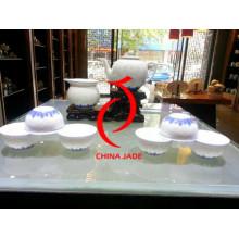 Ensemble de thé Jingdezhen Underglaze Blue avec motif de riz