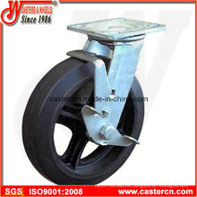 4 Inch to 8 Inch Mold-on Rubber Swivel Casters with Side Brake