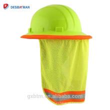 Sombra del cuello del casco de la malla del poliéster de la cal de Hi-vis, escudo del sol del casco de seguridad de la alta visibilidad con la raya reflexiva