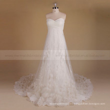 Graceful Fairy Dulce Una línea de Zhongshan vestido de novia de flores hechas a mano