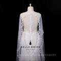 Laço de volta elegante vestido de noiva sereia com trem watteau