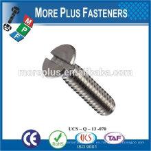 Hecho en Taiwán de alta calidad de acero inoxidable ranurado tornillo de la máquina tornillo de cabeza plana