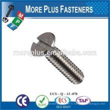 Fabriqué à Taiwan en acier inoxydable de haute qualité vis à fente vis à tête plate