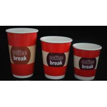 Doble taza de papel de pared para el café