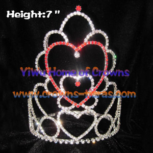 Red Pink Crystal Heart Shaped Valentines Crowns