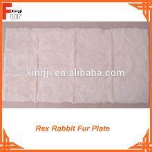 Assiette en fourrure de lapin Rex blanc pur