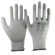 NMSAFETY 13 gauge Cut resistant level 5 liner with pu palm safety working gloves