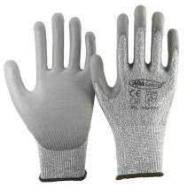 NMSAFETY 13 gauge Corte resistente nível 5 forro com luvas de trabalho de segurança pu palm