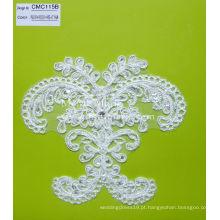 Tecido de renda de cordão com strass Tecido de renda floral para vestido de noiva CMC115B