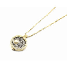 Gold Plating Floating Locket Pendant Necklace