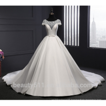 Astergarden scoop neckline bridal gown short sleeve wedding dress ball gown TS300
