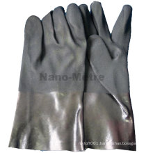 NMSAFETY long cuff pvc coated black work gloves