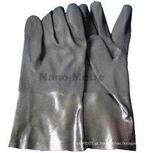 NMSAFETY punho longo pvc revestido de luvas pretas de trabalho