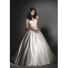 Ballkleid Liebsten Kapelle Zug Satin Perlen Ruffled Brautkleid