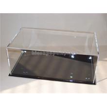 Tienda de venta al por menor de acrílico transparente superior de metal base de mostrador impermeable caso de béisbol sombrero de exhibición