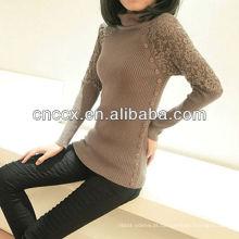 12STC0656 rendas de gola alta blusas plissadas das mulheres