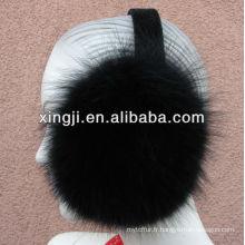Protège-oreilles en fourrure de renard teinté de qualité supérieure