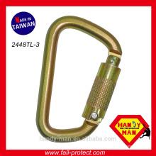 Fall arrest Manufacturer CE EN362 Steel Classic D Large Lock Safe Carabiner
