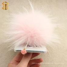 Venta al por mayor de teléfono celular lindo plug de polvo con Real Fox Fur Pom Poms Plug de teléfono móvil