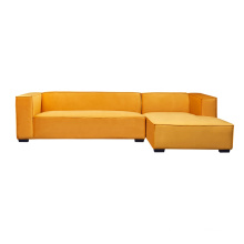 Living Room Lounge Furniture Right Chaise Modern Sectional Couch Yellow Velvet Modular Sofa With Ottoman