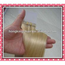 extensión de trama de cinta de pelo remy de color rubio