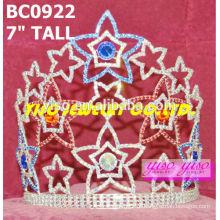 Coroas e tiaras de cristal da estrela da beleza