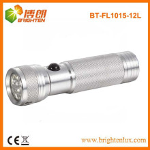 Factory Supply CE Approved Colorful 3 AAA Battery Aluminum Pocket Size 12 led Metal Flashlight