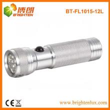Fábrica de fornecimento CE aprovado de prata AAA bateria de alumínio 12 levou melhor lanterna do bolso