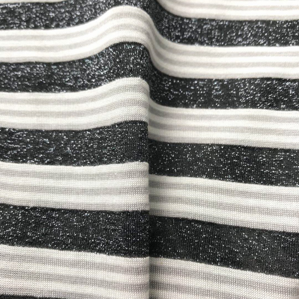 Grey lurex colorful rayon stripe knitting fabric