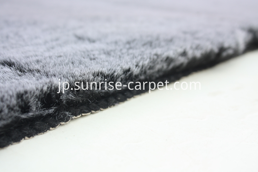 Faux Rabbit Fur Rug grey color
