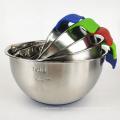 polished sanding stainless steel silicone bottom salad bowl-handle