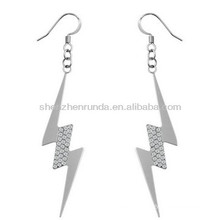 Rhinestone lightning shape drop earring silver plated 316L stainless steel hypoallergenic fashion women jewellery