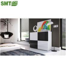 Черно-белые боковые шкафы, глянцевая панель, деревянная мебель