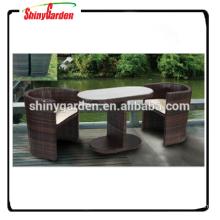 Conjunto de mimbre de mimbre de 3 piezas Conjunto de mesa de comedor y silla con amortiguador, juego de muebles de mimbre de jardín