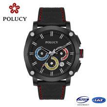 Relógio de luxo homens de fibra de carbono com couro genuíno