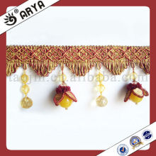 2015 New Arrival Beaded Fringes For Curtain Decorative Beads Trims Beaded French Lace