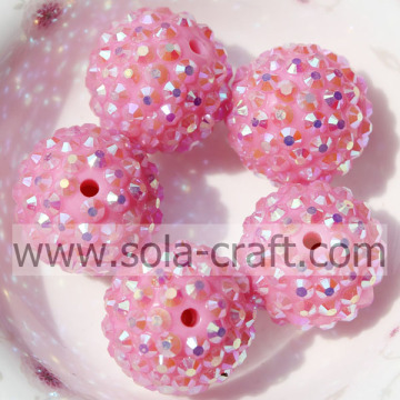 Solid Pink AB Color Round Resin Rhinestone Beads 18*20MM, Hole: 2.5mm