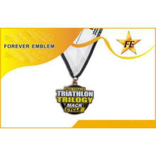 3-Sides Polished Souvenir Marathon Metal Medals With OEM Lo