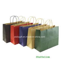 Sac à provisions Eco-Friendly Fsc Kraft Paper avec sac à baguettes à gousset tordu