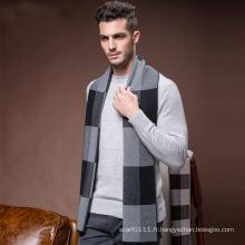 Écharpe chaude tissée acrylique en nylon de laine d'hiver de mode des hommes (YKY4602)