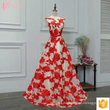 Vestido atractivo hinchado rojo 2017 del baile de fin de curso del flor de Embroided de la flor del Applique del cordón para las muchachas