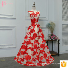 Gorgeous Lace Applique Embroided Flower Red Puffy Sexy Prom Dress 2017 For Girls