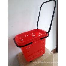 Rolling Plastic Hand Cart Four Wheel Shopping Basket